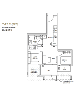 Mayfair modern Floor plan type B3(PES)